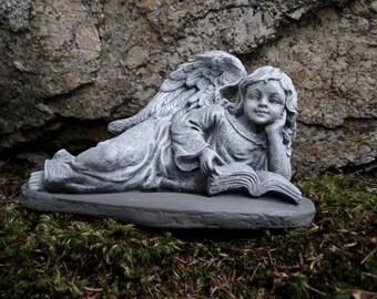 Angel Girl Reading, Concrete Angel Garden Statue, Cement Angel Statues, Garden  Angels, Angel With Book, Memorial Angel, Angel Headstone.