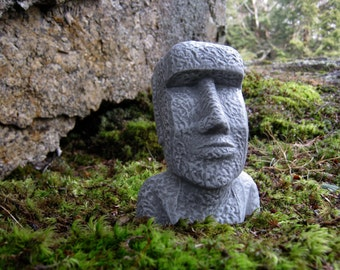 Easter Island Head, Moai Head, Concrete Heads, Garden Decor, Cement Easter  Island Heads,
