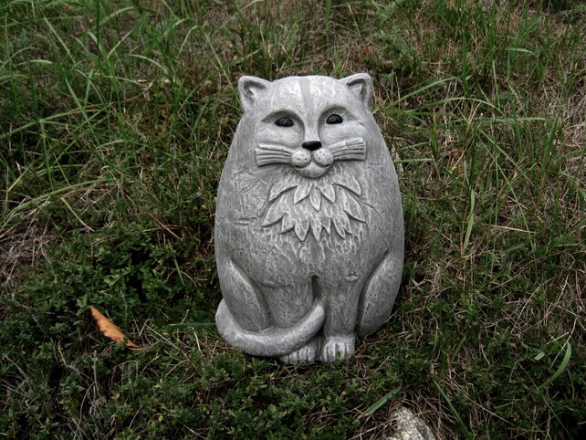Superbe Cat Statue Large Concrete Garden Cats Cement Cat Figure   Etsy