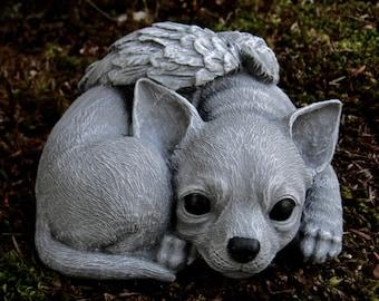 Chihuahua Angel Statue, Concrete Angel Dog, Concrete Dog Statues, Pet Memorial Chihuahua Memorial Headstone, Cement Chihuahua Angel Dog,