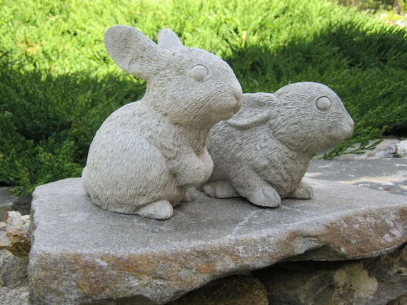 Attirant Rabbit Statues Garden Rabbits Garden Bunnies Concrete | Etsy