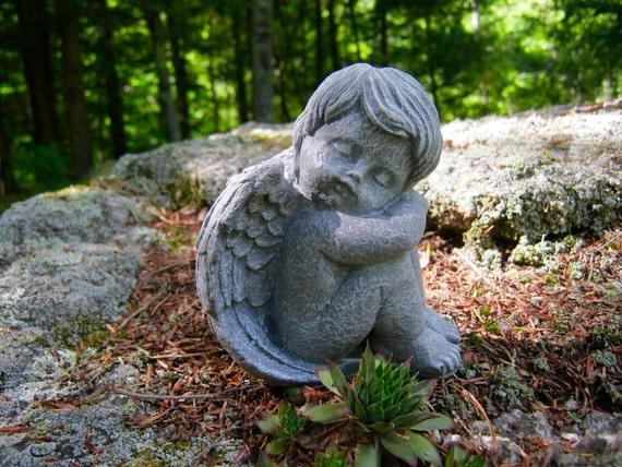 Angel Statue Angel Sleeping Cherub Cast In Stone Small Etsy