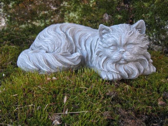 Cat Statue Concrete Cat Statues Long Haired Cat Figure | Etsy