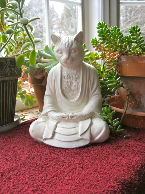 Statues Cats Concrete Statues Meditating Cat Statue Garden Decor Cement Cat