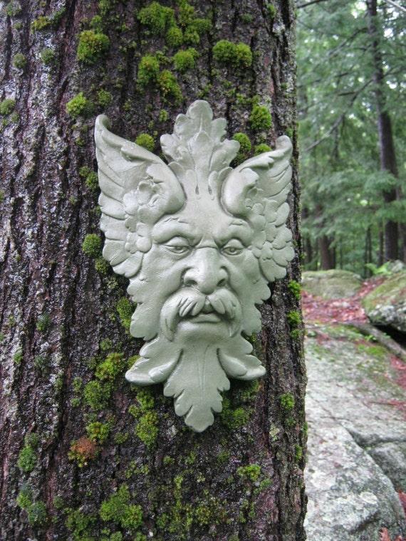 Green Man Garden Decor Hanging Face Concrete Garden Faces   Etsy