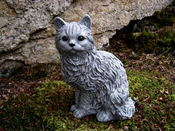 Cat Statue Concrete Cat Figure Cement Garden Decor Statues Of | Etsy