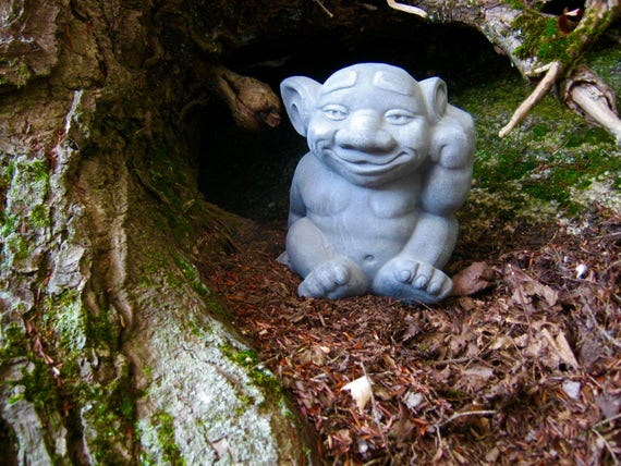 Etonnant Troll Statue Cute Gargoyle Cement Figure Concrete Garden | Etsy