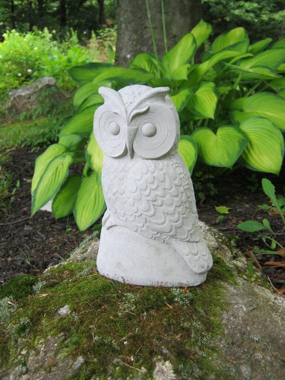 Owl Concrete Garden Owls 10 Inches Cement Owl Owl Figures | Etsy