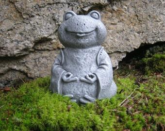 Frog Statue, Zen Frog Buddha, Meditating Yogi Frog, Concrete Garden Figure,  Painted