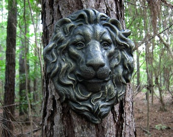 Lion Face Hanging Plaque, Concrete Garden Decor, Garden Faces, Garden  Decor, Lion