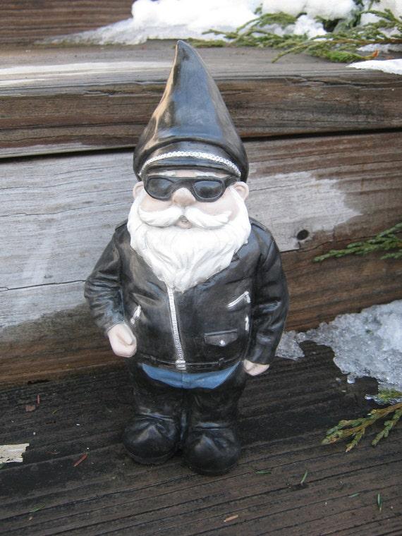 Biker Gnome Concrete Garden Statue Gnomes In Black Leathers | Etsy