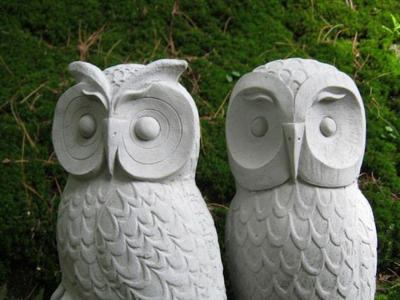 Merveilleux Owls Cast Stone Garden Owl Statues Two Concrete Owls Pair | Etsy