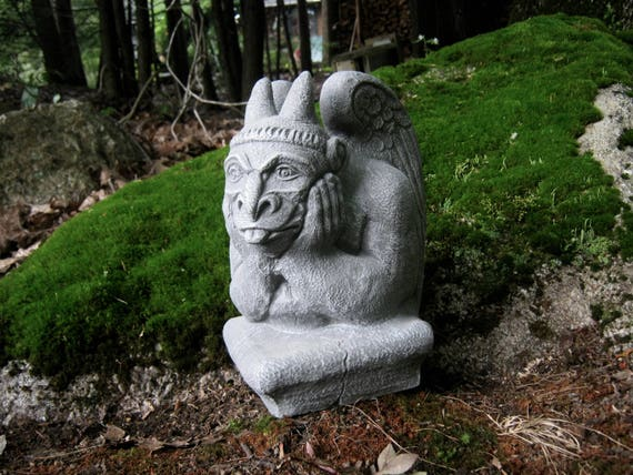 Gargoyle Statue Concrete Garden Statue Gothic Creature | Etsy