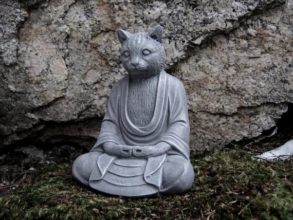 Statue de Bouddha chat chats béton Bouddha décor de jardin