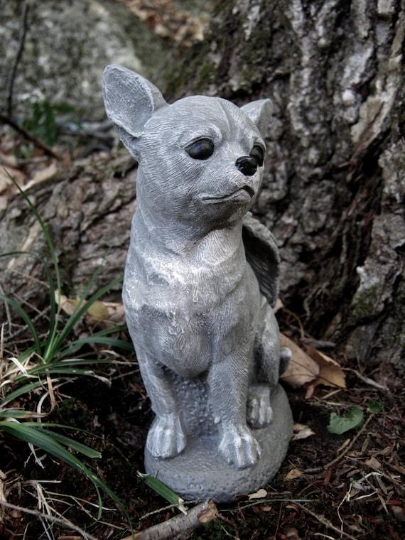 Attirant Chihuahua Dog Angel White Gray Concrete Garden Statue   Etsy