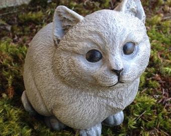 Cat Statue, Chubby Kitty Cement Figure, Painted Feline Art, Concrete Garden  Statue,
