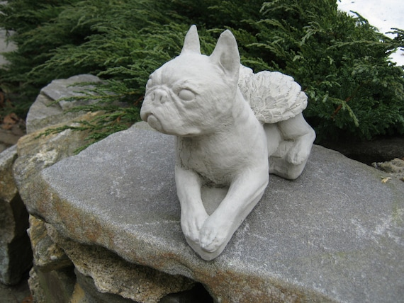 boston terrier angel statue concrete pet memorial cement etsy. Black Bedroom Furniture Sets. Home Design Ideas