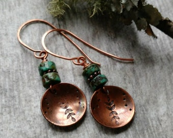 Turquoise jewelry copper jewelry 7th anniversary gift stamped metal jewelry copper earrings beaded jewelry turquoise earrings