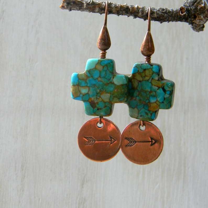 Arrow jewelry turquoise earrings gift for adventurer unqiue image 0