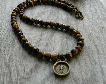 Mens beaded necklace gemstone necklace tigers eye graduation compass mens choker beaded jewelry gift for him true north fathers day