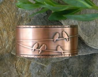 Copper cuff bracelet bird on wire handmade hammered copper bracelet  artisan copper cuff bracelet gift for bird lover 7th anniversary gift