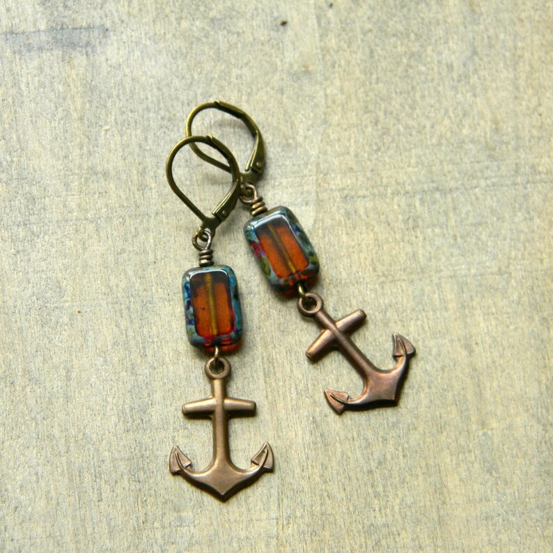 Anchor earrings fall earrings sailing style amber glass image 0