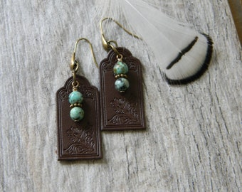 Turquoise earrings leather earrings southwestern jewelry cowgirl jewelry free spirit south west earrings leather southwestern earrings
