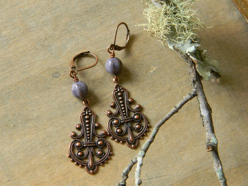 Copper earrings purple beaded earrings copper dangle earrings image 0
