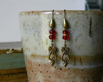 Red earrings brass and red glass earrings beaded jewelry unique gift for her beaded earrings