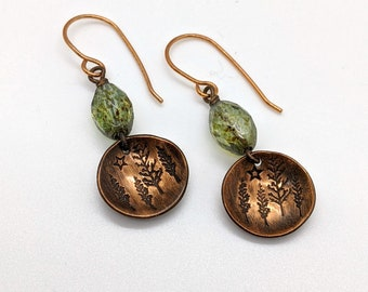 Copper earrings 7th anniversary gift for nature lover woodland scene starry sky green glass beaded jewelry metalsmith jewelry stamped coppe