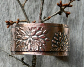 Copper cuff bracelet flowers handmade hammered copper bracelet  artisan copper cuff bracelet  7th anniversary gift for her statement cuff