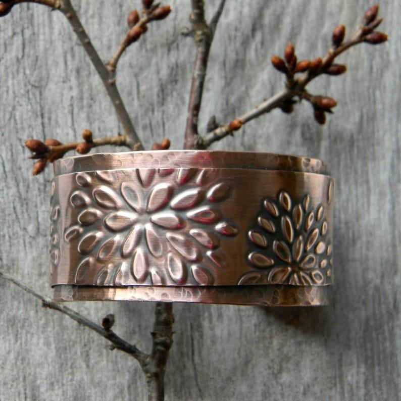 Copper cuff bracelet flowers handmade hammered copper bracelet image 0
