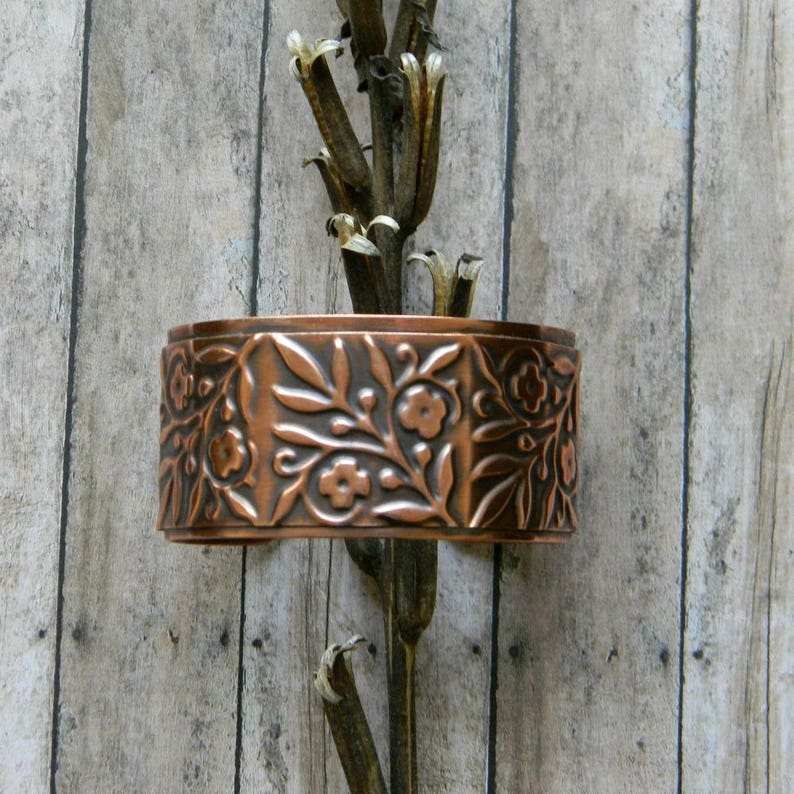 Copper cuff bracelet handmade hammered copper bracelet flower image 0