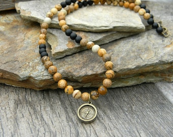 Mens compass necklace beaded necklace graduation gift long beaded stone necklace  mens jewelry for man true north fathers day gift
