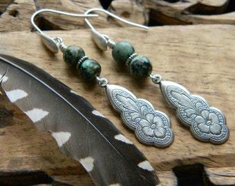 Bohemian earrings turquoise jewelry southwestern style jewelry cowgirl unique earrings bohemian jewelry western boho turquoise earrings