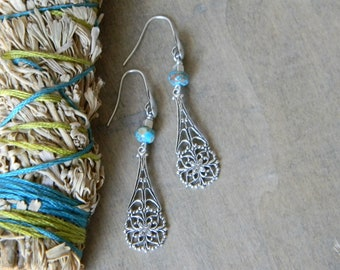 Turquoise earrings southwestern jewelry turquoise jewelry filigree dangle flower jewelry cowgirl bohemian jewelry south  west jewelry