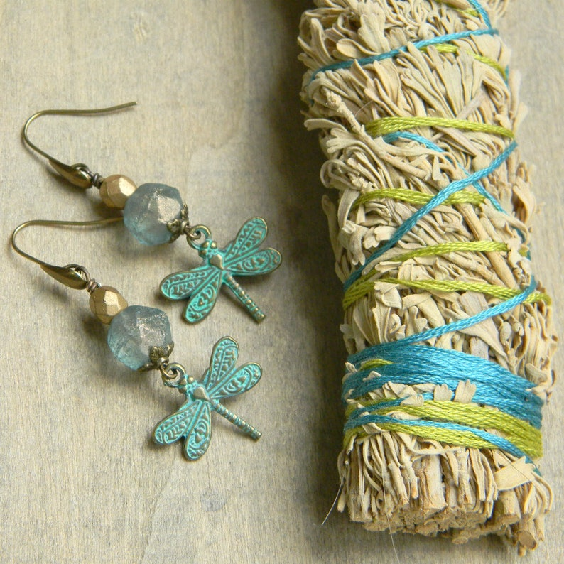 Dragonfly earrings insect jewelry unique gift for her fun image 0