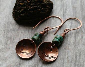 Turquoise earrings copper earrings 7th anniversary gift bohemian earrings turquoise jewelry beaded jewelry bohemian jewelry beaded earrings