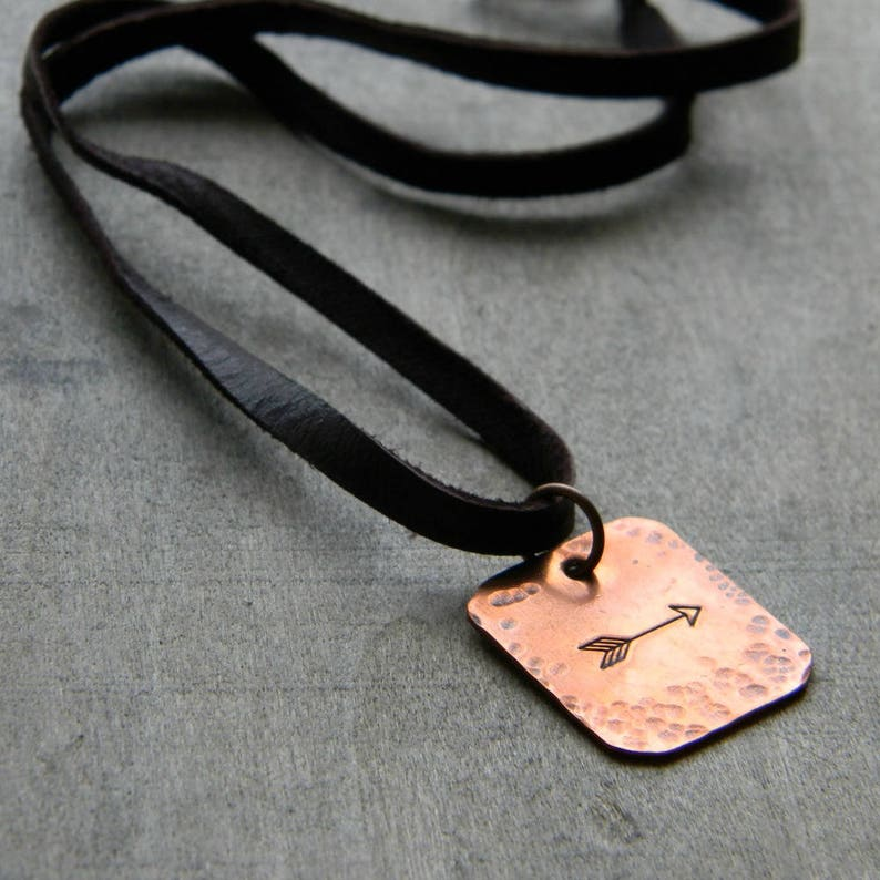 Leather cord necklace arrow jewelry  mens leather cord image 0