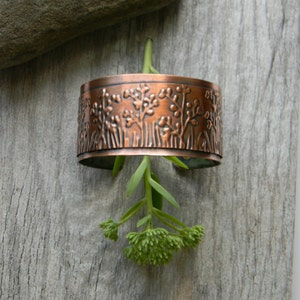 Copper cuff bracelet handmade hammered copper bracelet  artisan copper cuff bracelet  7th anniversary gift for wife nature pine branches