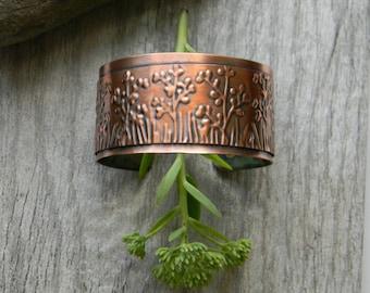 Copper cuff bracelet wildflower handmade hammered copper bracelet  artisan copper cuff bracelet  7th anniversary gift for her statement cuff