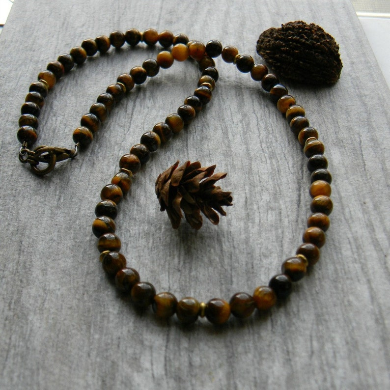 Mens beaded necklace tigers eye stone necklace for man image 0