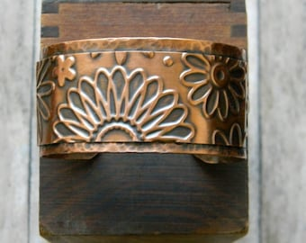 Copper cuff bracelet handmade hammered copper bracelet flower cuff artisan copper cuff bracelet  7th anniversary gift for her statement cuff