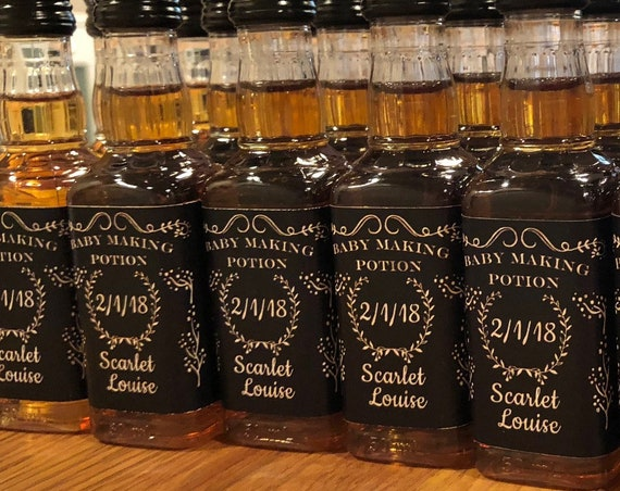Mini Liquor Bottle Labels, Mini whiskey bottle labels, Baby Making Potion bottle labels, Mini Baby Making Potion Labels. Sold in sets of 12