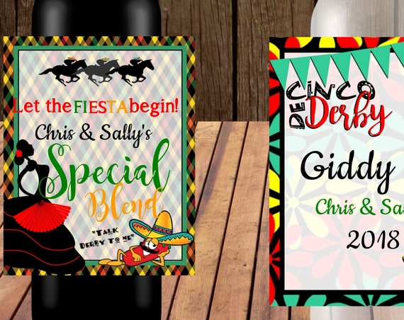 Kentucky Derby and Cinco de Mayo Wine Labels, Cinco de Derby Derby de Mayo, Kentucky Derby party. Set of 4 personalized wine labels