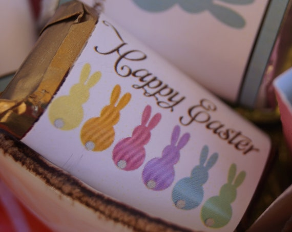 Easter Miniatures, Easter favors,Easter Minis Bunny Tails, Easter personalized wrappers, Easter candy buffet. Set of 30.