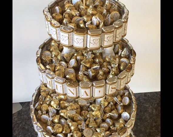 Anniversary Centerpiece Candy Cake, 50th Wedding party, quinceanera sweet 16 personalized, bachelorette Candy Bouquet, Unique Centerpieces.