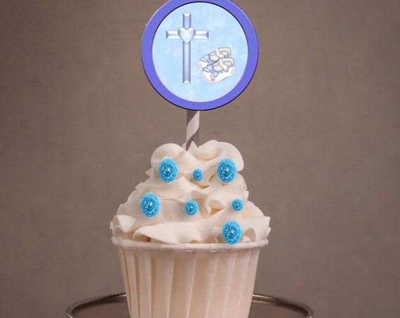 Boy Baptism cupcake toppers, Christening Cupcake Toppers, Baptism favors, Baptism Boy  party, Christening party. Set of 24.