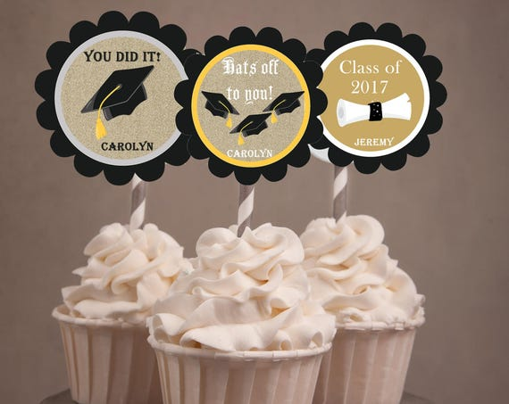 Graduation 2018 Cupcake Toppers, Graduation Cupcake Toppers, Hats off to you, You did it toppers. Classroom treats or tags  Set of 24.