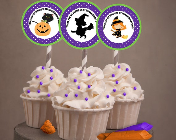 Halloween cupcake toppers, Halloween party favors, Halloween party theme, falliday , Purple and Green Halloween black cat witch  Set of 24